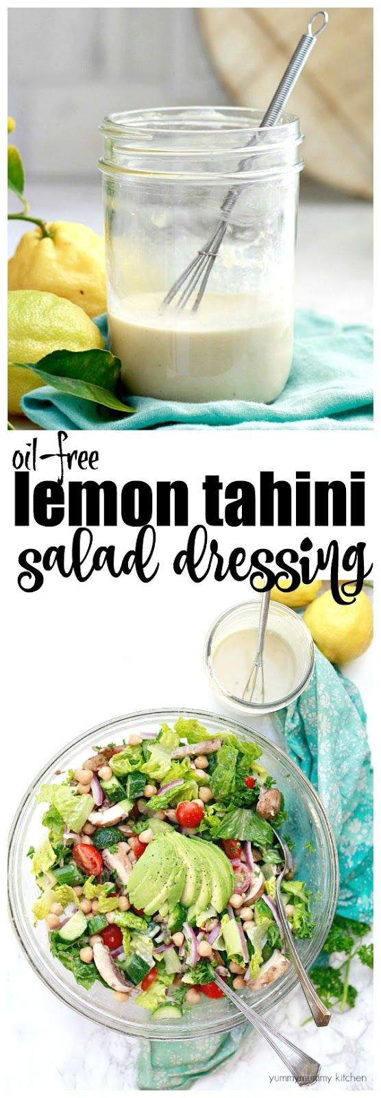 This delicious and easy vegan lemon tahini dressing is oil-free and perfect on salads. It's made with just a few simple ingredients like apple cider vinegar, tahini, maple, and lemon.