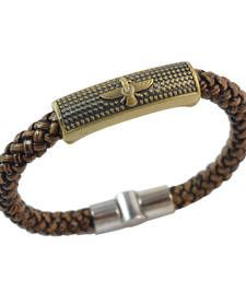 Buy Brown Angel Leather Bracelet for Men Bracelet online