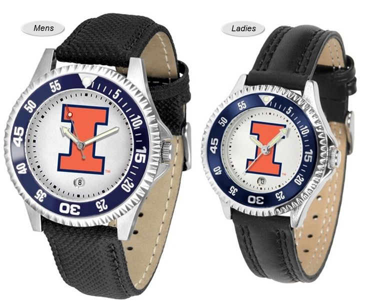 Competitor Sport Leather Illinois Fighting Illini Watch is available in your choice of Mens or Ladies styles. Showcases the Fighting Illini logo. Ships Free.