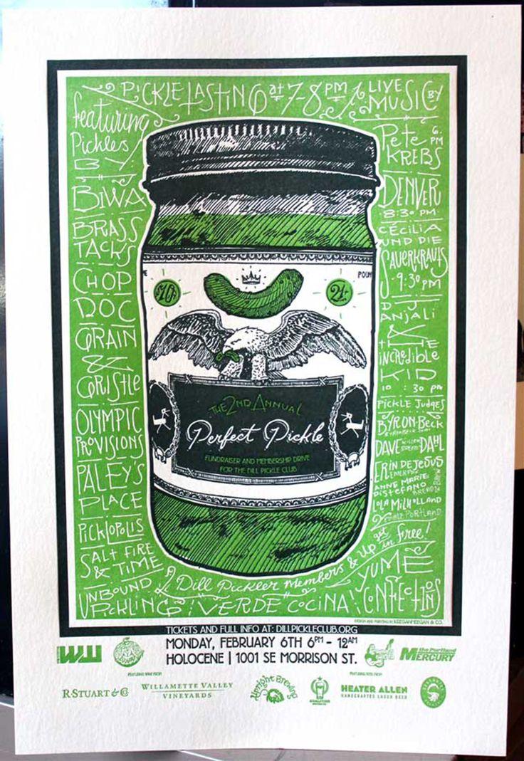 Dill Pickle Club Fundraising Poster  ---  Production Method  Letterpress  ---  Design  Keegan Wenkman  ---  Printing  KeeganMeegan & Co.