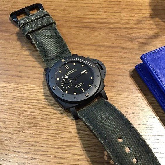 Canvas Verte on Panerai Submersible Ceramic, price for: $99.99 (999 ribu) without buckle . How to order this strap? 1. Capture this photo (or just contact me directly, both ways are okay) . 2. Tell me about your watch and lets discuss furthermore to figure out which style suits you best (if you don't get any reply from me in more than 3 hour unless i'm sleeping, i might not get your message. please contact me from other media) . 3. I will be available on : - Email : adit@strapfreak.com…