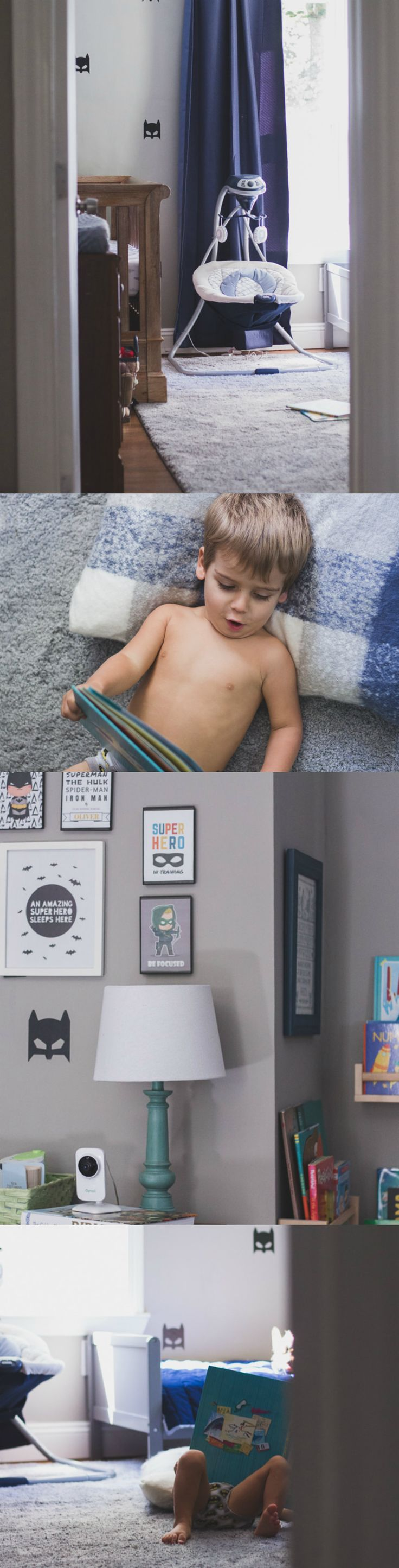 Modern Boys Batman Bedroom. Blue, grey and black boys bedroom. Shared toddler and nursery room.