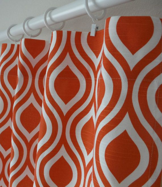 Drapery panels orange curtains and white curtains on pinterest