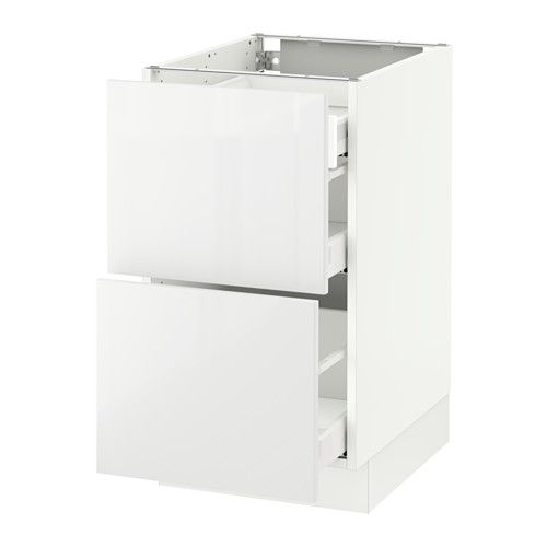 sektion base cab with 2 fronts3 drawers white ringhult high gloss white
