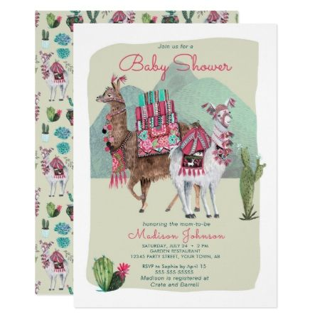 Baby Shower | Llamas & Cactus | Invitations - tap, personalize, buy right now!  #babyshower #invitation #babyshowerideas #babygirl #illustration #illustrations #sweet #cute #pattern #patterns #unique #animal #animals #botanical