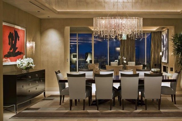 LeDiedraBaldwin.com dining room chandelier by Minotti. Love color scheme.