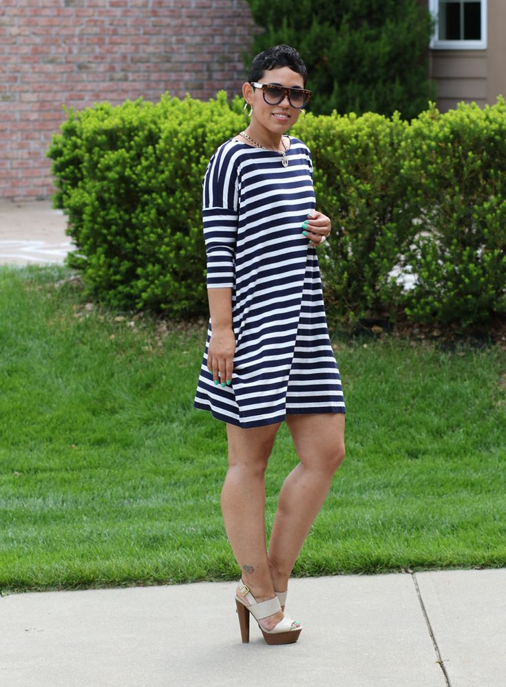 Striped Pocket Shirt Dress - Mimi G Style