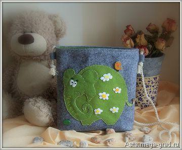 """Детская сумочка """"Слоненок Весна"""" - вещи из фетра, авторские аксессуары для детей. МегаГрад - портал авторской ручной работы"""