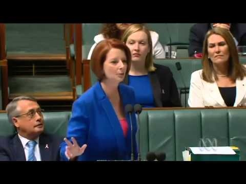 Julia Gillard's Speech Over Opposition's Sexism, Misogyny. In this fiery speech that has been reported around the world , Australian Prime Minister Julia Gillard accuses Opposition Leader Tony Abbott of sexism and misogyny.