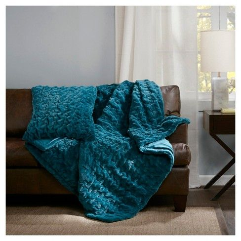 Ruched Faux Fur Throw Solid Throw Blanket Square Pillow Cover Faux Fur Throw Blanket