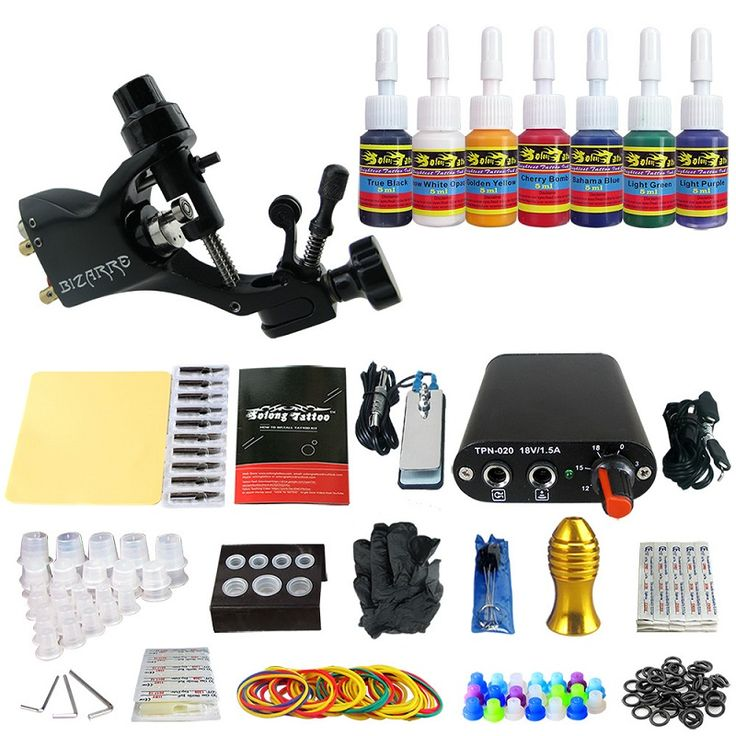 ==> [Free Shipping] Buy Best Beginner Rotary Tattoo Kit Tatoo Machine 7 Color Inks professional Tattoo gun Power Supply Power Tip Tube And Needles body art Online with LOWEST Price | 32777664513