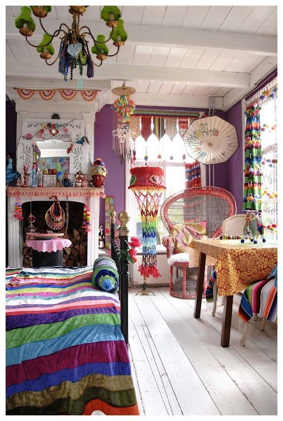 Colourful decor of Leona Leppers #multicoloured #fun #vibrant use white as a blank canvas for your creativity!