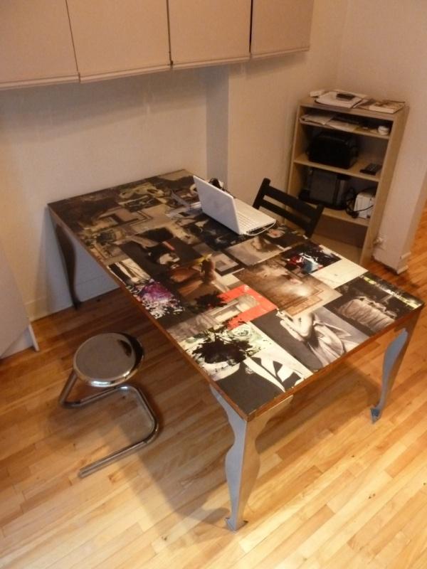 Table collage vieille porte personnalisée