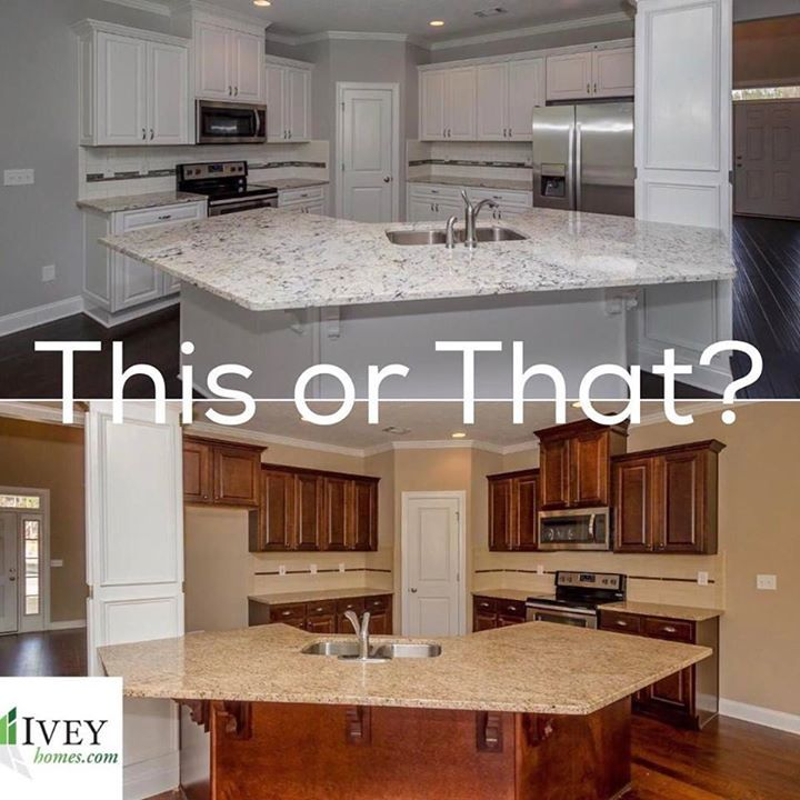 Crisp White Or Warm Stained Cabinets. Comment Below! #iveyhomes #newhome # Cabinets #thisorthat Ivey Homes Is An Award Winning Locally Owned Augusta GA  ...