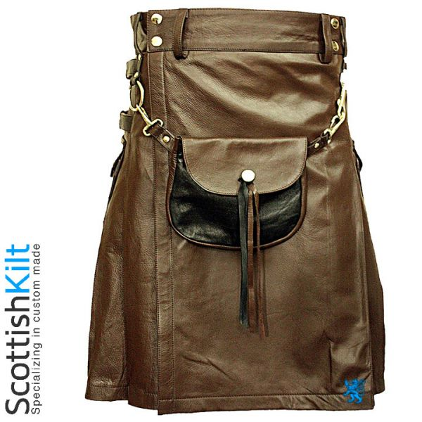 The Celtic leather Kilt with Leather Sporran turns convention on its head, giving you the classic cut of a dress Scottish kilt in modern cow's leather. #LeatherKilt #ScottishKilt #Kilts