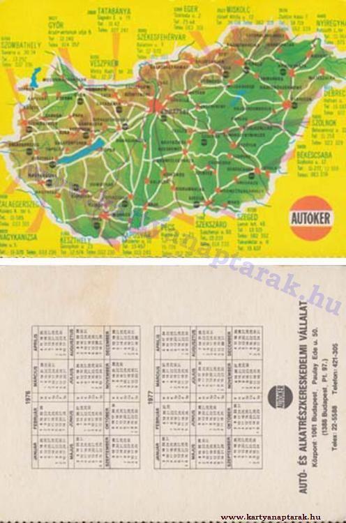 1976 - 1976_0827 - Régi magyar kártyanaptárak