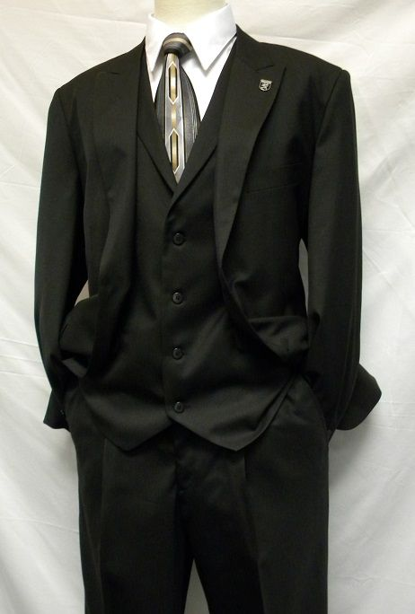 Stacy Adams Solid Black 1920s Mart Vested 3 Piece Suits 4015-100