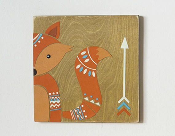 Handmade Rustic Woodland Nursery Art Tribal Fox Nursery Wall
