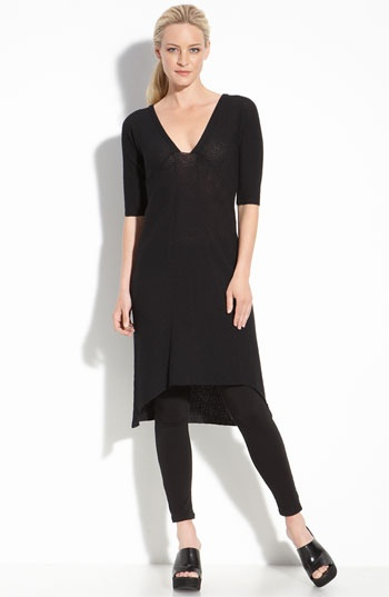 eileen fisher; love a dress with leggings I could see myself in this outfit. I too like dresses with leggings!