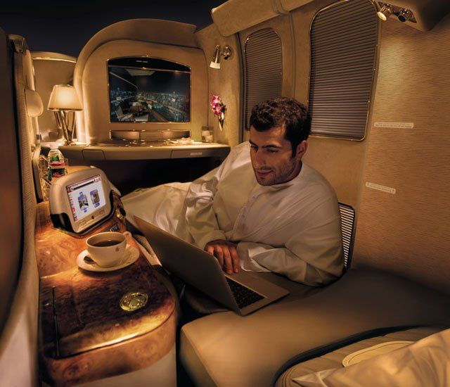 First Class Services First In Class: Emirates Airline Private Suite, Freshen Up With A Mid