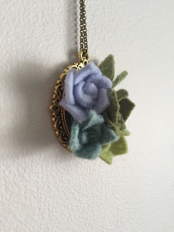 wool felt succulent pendant necklace by shopgoldenafternoon