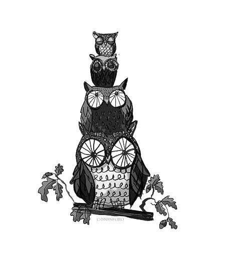 Owl for a family tattoo. With 5 owls:) mine would have awesome glasses!