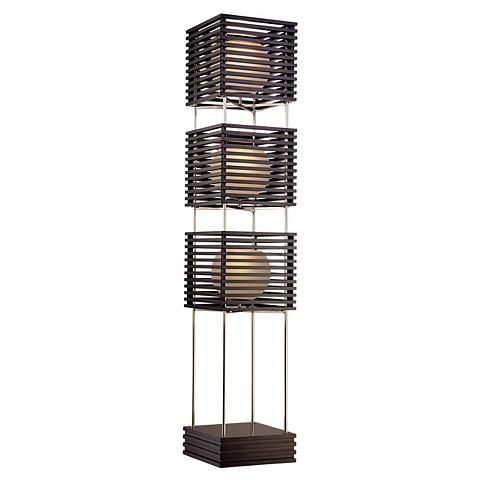 Possini Euro Three Tier Wood Slat Frosted Glass Floor Lamp - #T3319 | Lamps Plus
