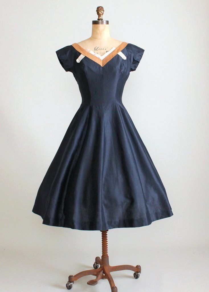 Vintage 1950s Reich Original Navy Silk Dress