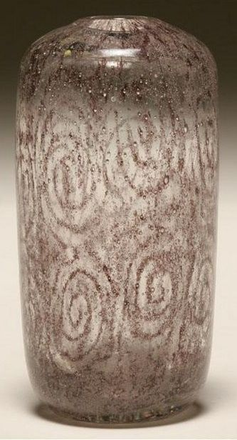 """Andre Thuret French art glass vase, executed with Henri Navarre, c.1923. Cylindrical, narrow neck, clear vase internally decorated with swirling reddish metallic inclusions. Unsigned. 6 1/2"""" tall."""