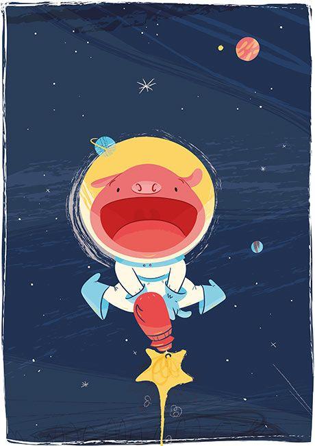 Space piggy  #childrensillustration #children #illustration #funny #pig #piggy #space #astronaut #funny #lol #spaceoddity #galaxy #astronauta #cerdito #espacio #outerspace #ilustración #ilustracióninfantil #infantil #kids