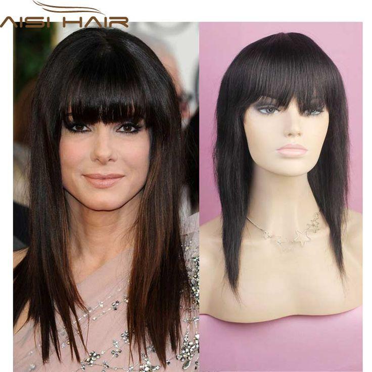 FREE SHIPPING 100% in-di-an hair hu-m-an hair wig long straight wig darkest brown hu-m-an wig skin top hair Celebrity wigs