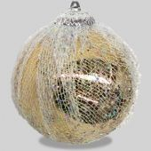 100mm Champagne Colour Ball With Glitter Mesh Code: BADE010CHMESH