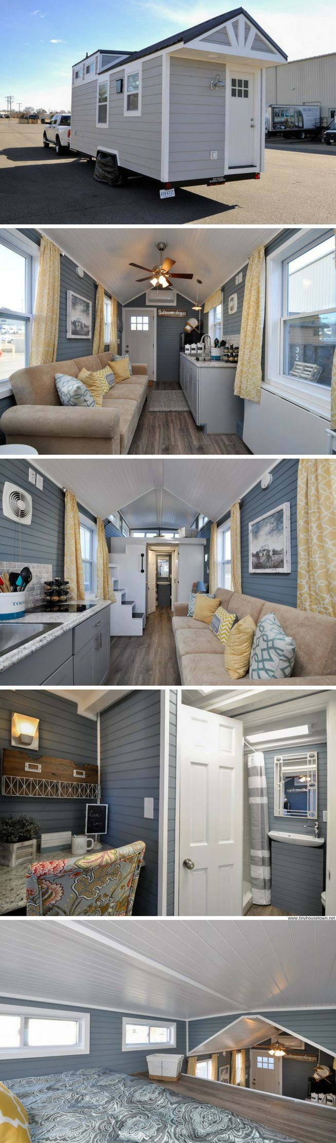 The Laurel: a 272-sq-ft tiny house with a home office, full kitchen, and two bedrooms!