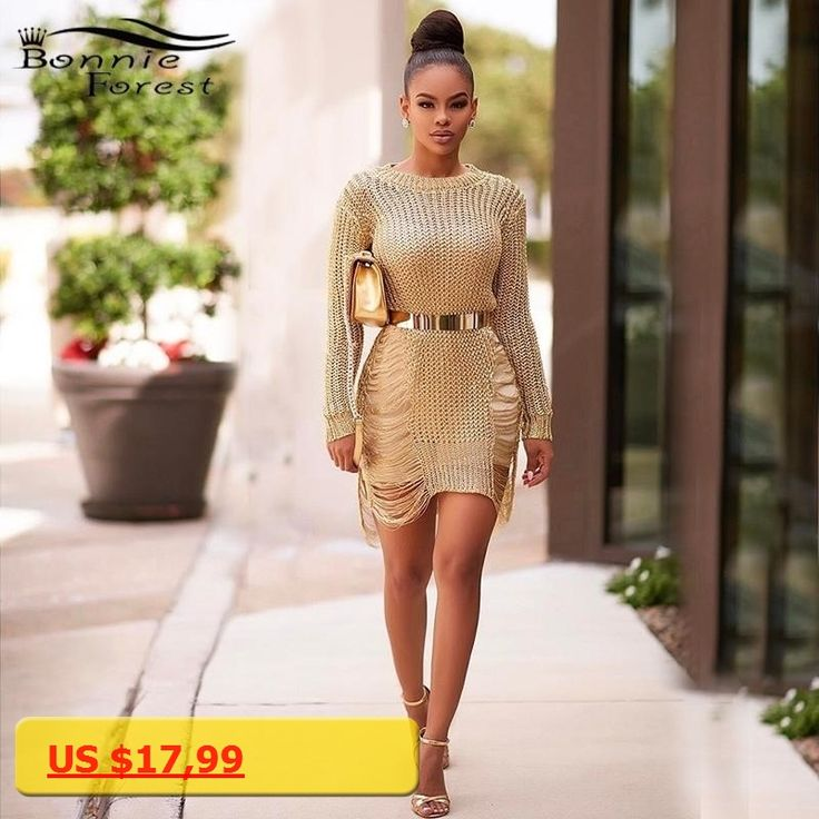 Bonnie Forest Gold Metallic Knit Shredded Sweater Dress Popular Stretch Sexy Ladder Cut-Out Metallic Sequins Dress Beach Wear