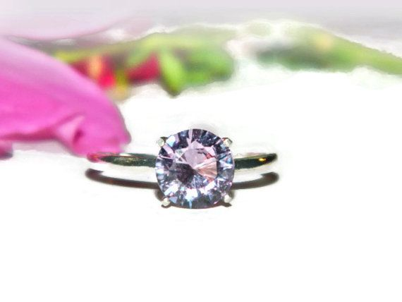 Alexandrite Engagement Ring, Ring With Color Changing Stone, Lab Created Alexandrite Ring, Sterling Silver  Ring
