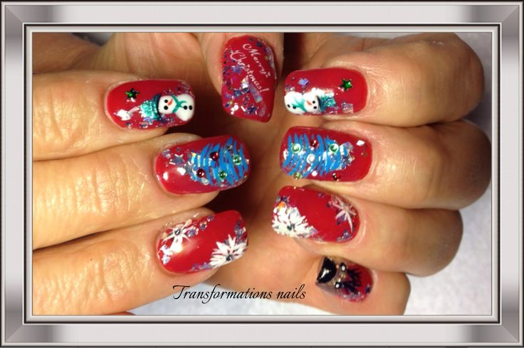 #snowman  #snowflake nails  #christmax nails  #sparkle nail.