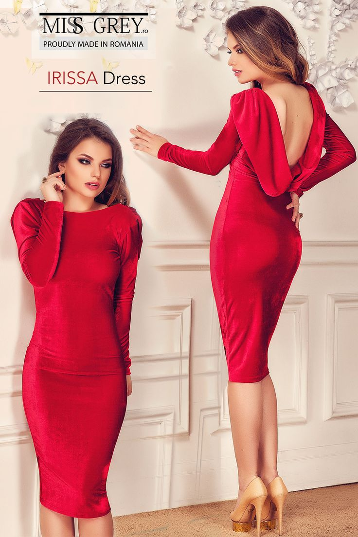 Refinement and delicacy in one red dress made of velvet.