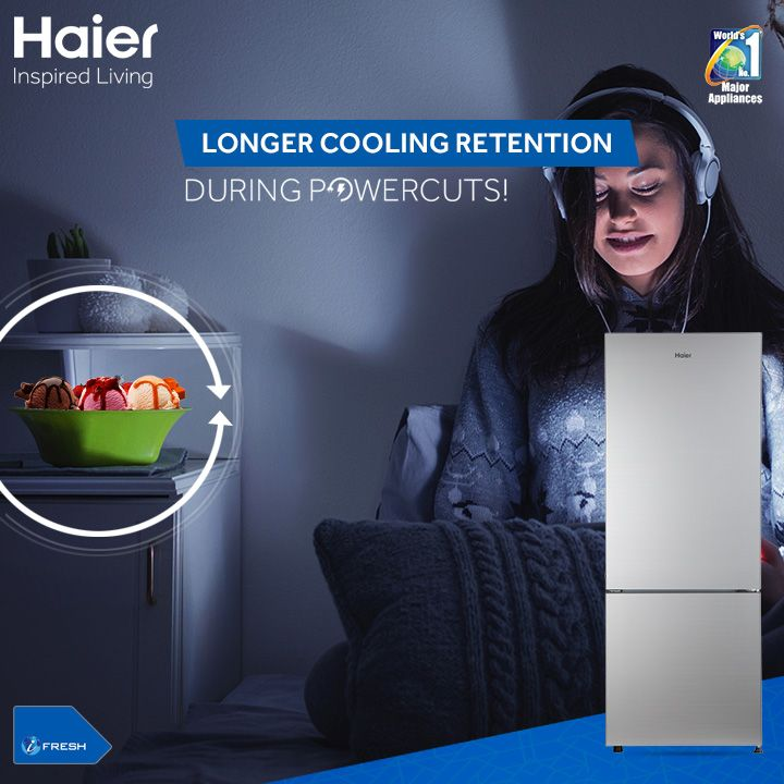 #Haier's Glass door Bottom Mounted #Refrigerator with bigger cooling pads keeps your refrigerator cool for 10 hours after a power cut. Here is a refrigerator from Haier that doesn't lose it's cool during power cuts! #Refrigerators #Technology #Innovation #Lifestyle #HaierIndia #InspiredLiving
