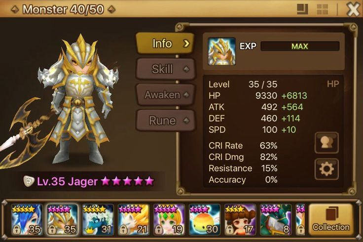Summoners War Account Light Dragon Knight Water Unicorn W/ Growth Package 24Lvl