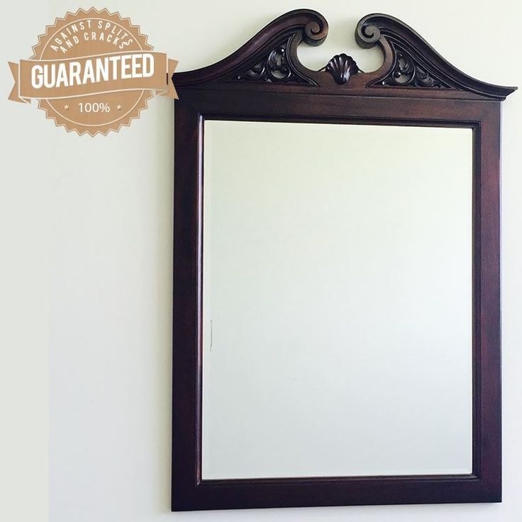 Antique Style Solid Mahogany Hand Carved Beveled Wall Mirror MR-180