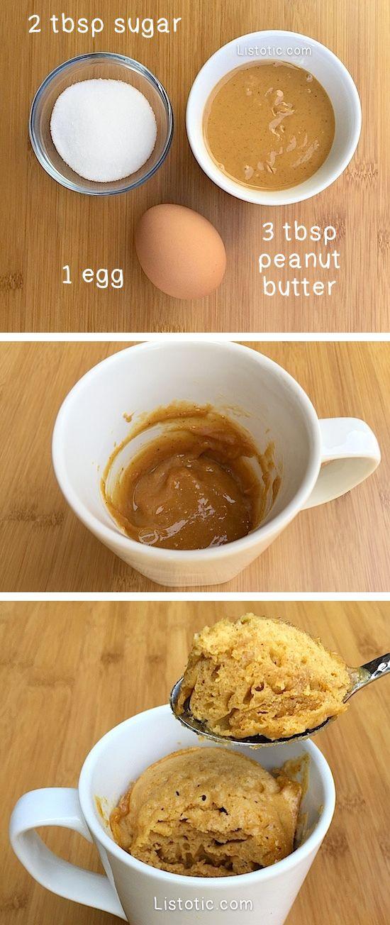 Super easy 3 ingredient peanut butter mug cake recipe! SO GOOD!