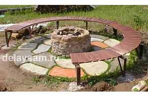 Дачная скамеечка (лавочка) криволинейной формы. Самодельная садовая мебель.