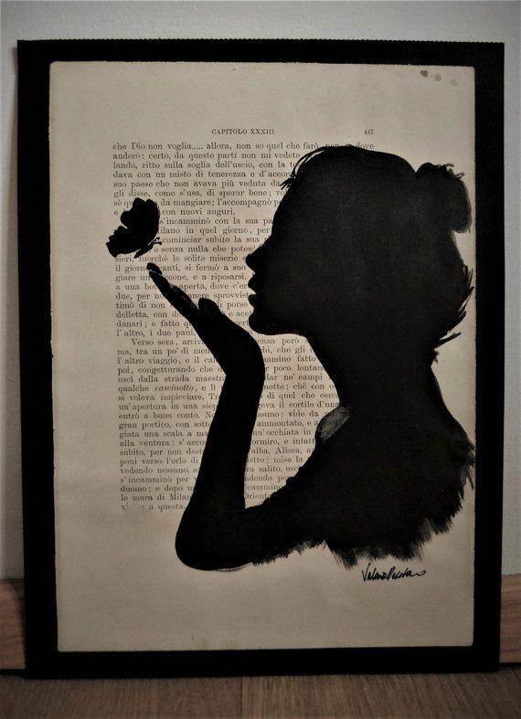 The girl and the butterfly, watercolour portrait on book page/ La ragazza e la farfalla, acquerello su pagina di libro  https://www.etsy.com/it/your/shops/ValEriKraft/tools/ValEriKraft/it/listings/495096196