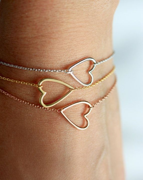 Open Heart Bracelet  Gold Silver Rose Gold  by TomDesign on Etsy