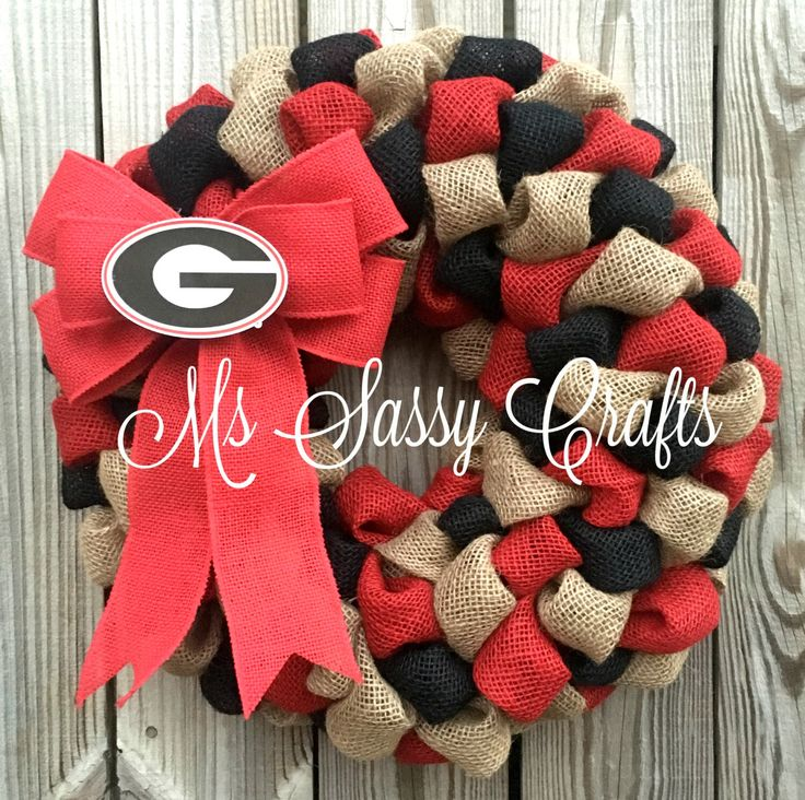 UGA Burlap Wreath - Georgia Burlap Wreath - University of Georgia Wreath…