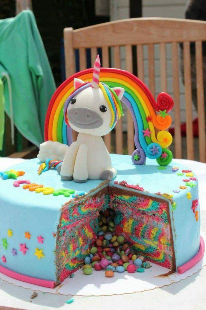gateau-anniversaire-au-chocolat-anniversaire-coloré-arc-en-ciel-pate-mignon-piniata-cake