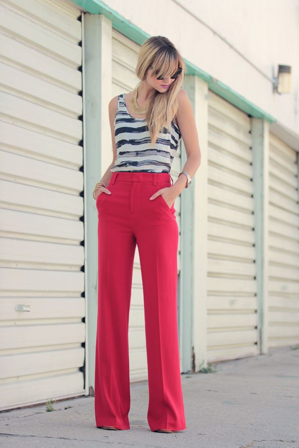 red white and blueTrousers, Style, Clothing, Pink Pants, Outfit, Fashion Looks, Stripes, Redpants, Red Pants