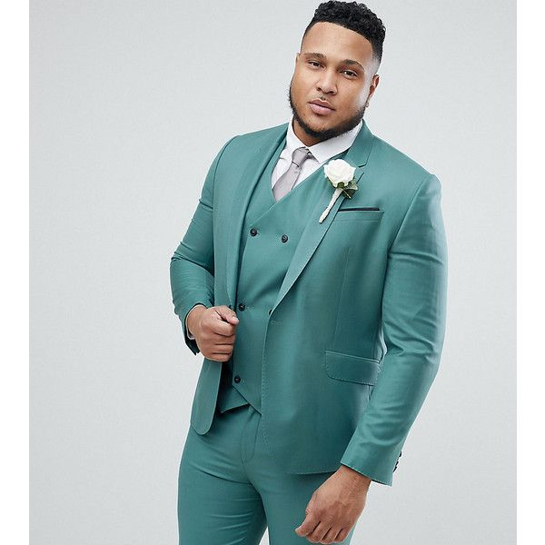 ASOS PLUS Wedding Slim Suit Jacket In Pine Green 100% Wool ($150) ❤ liked on Polyvore featuring men's fashion, men's clothing, men's outerwear, men's jackets, green, mens slim jacket, mens green jacket, mens slim fit wool jacket, mens wool jacket and mens wool outerwear