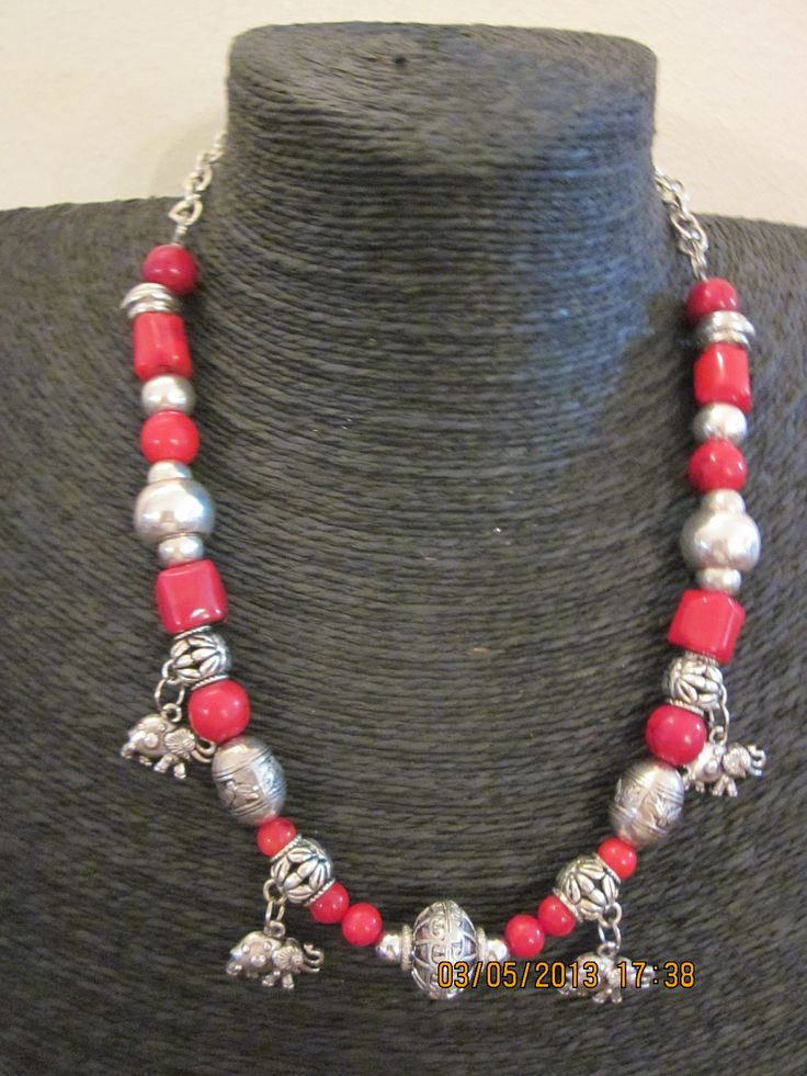 Red coral elephant necklace