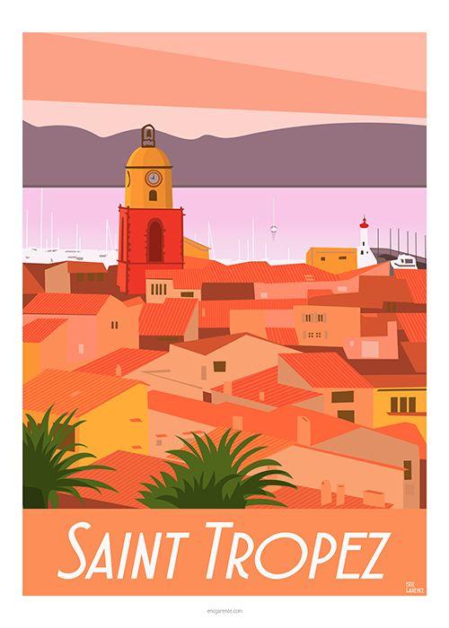 Saint Tropez, sunset, citadelle, Provence, orange, yachting, coucher de soleil, palmiers, village, var, déco, murale, vintage, retro, galerie, art, jet set, bardot, brigitte, mer, sea, golfe, painting, picture, poster, affiche, publicité, garence, eric, St Trop, cogolin, sainte maxime, minimalism, scandinavian